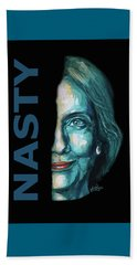 Nasty - Hillary Clinton Beach Towel by Konni Jensen