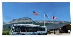 Beach Towel featuring the photograph National Parks. St. Mary Visitor Center At Glacier by Ausra Huntington nee Paulauskaite