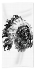 Beach Towel featuring the mixed media Native American Chief Black And White by Marian Voicu
