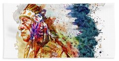 Native American Chief Side Face Beach Towel