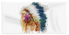 Native American Chief Side Face Beach Sheet