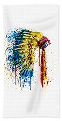 Native American Feather Headdress   Beach Towel