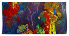Beach Towel featuring the painting Native American Fire Spirits by Claire Bull