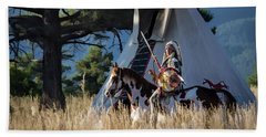Native American In Full Headdress In Front Of Teepee Beach Towel by Nadja Rider