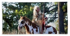 Native American In Full Headdress On A Paint Horse Beach Towel