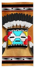 Beach Towel featuring the digital art Native American Indian Kachina Mask by John Wills