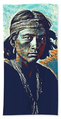 Native American Indian Portrait Profile Series - Navajo Youth  Poster Beach Towel