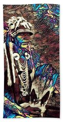 Plains Indian Warrior With Buffalo Headdress In The Trees Beach Towel