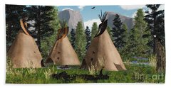 Native American Mountain Tepees Beach Towel by Walter Colvin