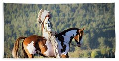 Native American On His Paint Horse Beach Towel by Nadja Rider