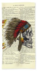 Native American Skull Beach Towel