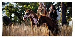 Native Americans On Horses In The Morning Light Beach Towel by Nadja Rider