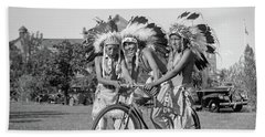 Native Americans With Bicycle Beach Sheet