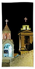 Beach Towel featuring the photograph Nativity Church Lights by Munir Alawi
