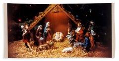 Nativity Scene Greeting Card Beach Towel