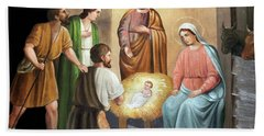Nativity Scene Painting At Nativity Church Beach Sheet by Munir Alawi