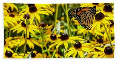 Monarch Butterfly On Yellow Flowers Beach Towel
