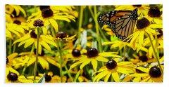 Monarch Butterfly On Yellow Flowers Beach Sheet