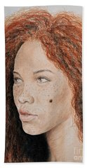 Natural Beauty With Red Hair  Beach Sheet by Jim Fitzpatrick