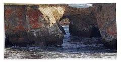 Natural Bridge At Point Arena Beach Towel by Mick Anderson
