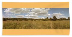 Natural Meadow Landscape Panorama. Beach Towel