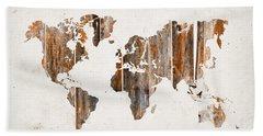 Natural Planks World Map Beach Towel
