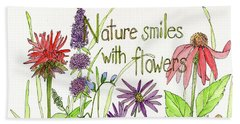 Nature Smile With Flowers Beach Towel
