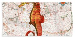 Beach Towel featuring the painting Nautical Treasures-i by Jean Plout