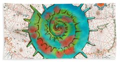 Beach Towel featuring the painting Nautical Treasures-m by Jean Plout