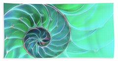 Nautilus Aqua Spiral Beach Towel by Gill Billington
