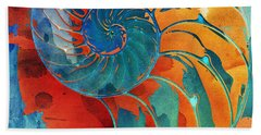 Nautilus Shell Orange Blue Green Beach Sheet