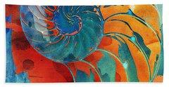 Nautilus Shell Orange Blue Green Beach Towel