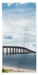 Beach Towel featuring the photograph Navarre Bridge In Florida On The Sound Side by Shelby Young