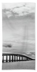 Beach Towel featuring the photograph Navarre Bridge Monochrome by Shelby Young