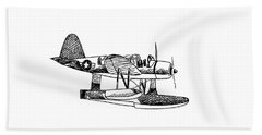 Navy Scout Observation Plane Pen And Ink No  Pi201 Beach Sheet by Kip DeVore