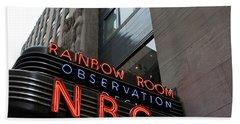 Nbc Studio Rainbow Room Sign Beach Towel