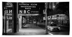 Nbc Studios Rockefeller Center Black And White  Beach Towel by John McGraw