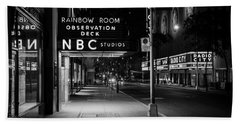 Nbc Studios Rockefeller Center Nyc Black And White  Beach Towel
