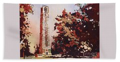 Beach Towel featuring the painting Ncsu Bell-tower II by Ryan Fox