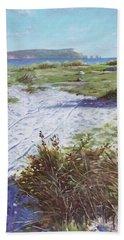 Needles From Hengistbury Head Beach Sheet by Martin Davey