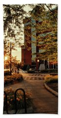 Beach Towel featuring the photograph Neenah Center Sunset by Joel Witmeyer