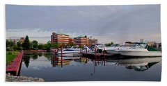 Beach Towel featuring the photograph Neenah Harbor by Joel Witmeyer