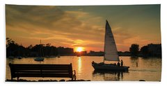 Beach Towel featuring the photograph Neenah Harbor Sunset by Joel Witmeyer