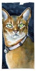 Nefertiti - Abyssinian Cat Portrait Beach Towel