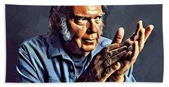 Neil Young Portrait Beach Sheet by Scott Wallace
