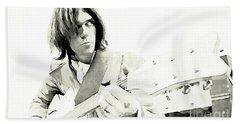 Neil Young Watercolor Beach Sheet by John Malone