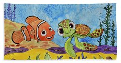 Nemo And Squirt Beach Towel