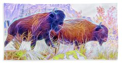 Neon Bison Pair Beach Towel