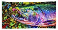 Neon Coho  Beach Towel