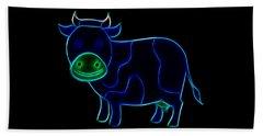Beach Sheet featuring the digital art Neon Cow by Maciek Froncisz